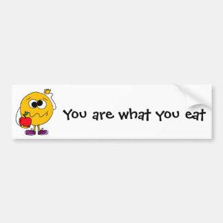 XX fruitig Gezicht Smiley die Apple eten Bumpersticker