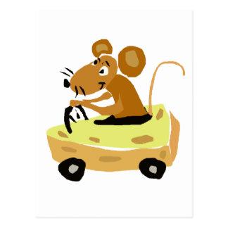 XX muis die een Cartoon van de Auto van de Kaas Briefkaart
