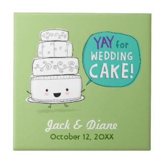 YAY voor de Cake van het Huwelijk! Humoristisch Tegeltje