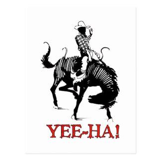 Yee-Ha! De cowboy van de rodeo bij zich het Briefkaart