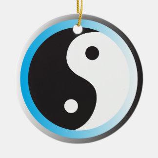 Yin (blauw) Yang Rond Keramisch Ornament