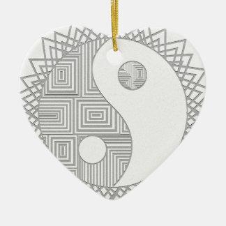 Yin en Yang I Keramisch Hart Ornament