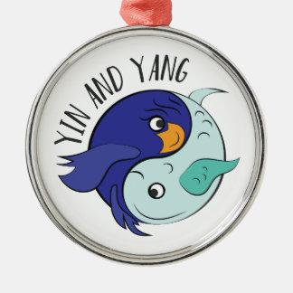 Yin en Yang Zilverkleurig Rond Ornament