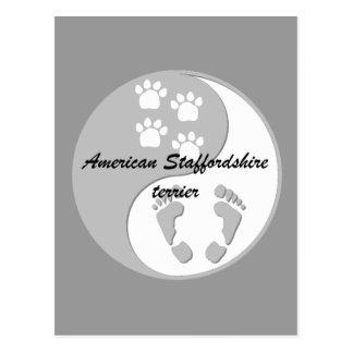 yin yang Amerikaanse staffordshire terriër Briefkaart