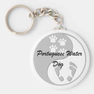 yin yang de Portugese Hond van het Water Sleutelhanger