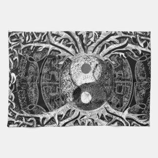Yin Yang in Zwart-wit met Boom van het Leven Theedoek