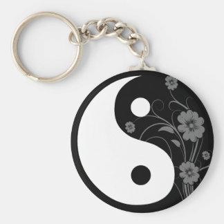 Yin Yang Zwarte BloemenKeychain Sleutelhanger