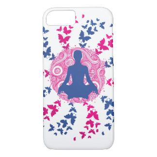yoga, positieve meditatie,+energie, vrede, vlinder iPhone 8/7 hoesje
