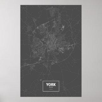 York, wit Engeland (op zwarte) Poster