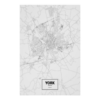 York, zwart Engeland (op wit) Poster
