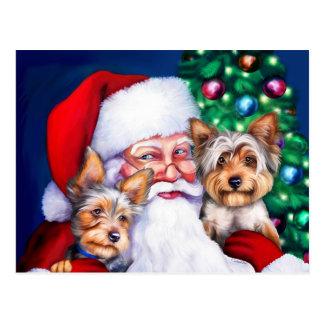 Yorkies van de kerstman bij Kerstmis Briefkaart