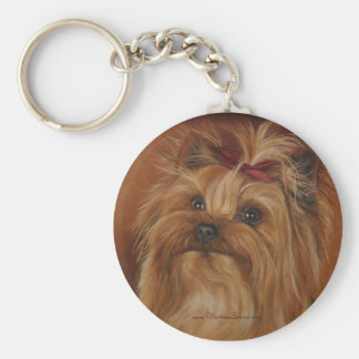 Yorkshire Terrier Keychain Basic Ronde Button Sleutelhanger