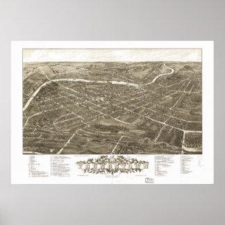 Youngstown Ohio 1882 Antiek Panoramische Kaart Poster