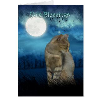yule zegen met kat in het maanlicht wenskaart