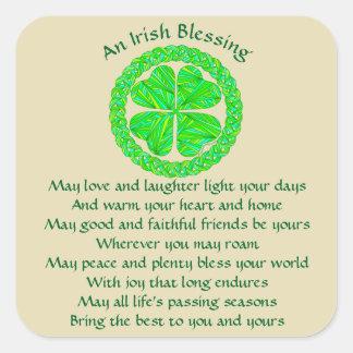 Z het Iers die Keltische Klaver zegenen Vierkante Sticker