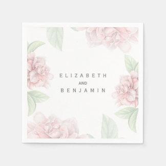 Zacht Roze Bloemen Wit Elegant Huwelijk Papieren Servetten