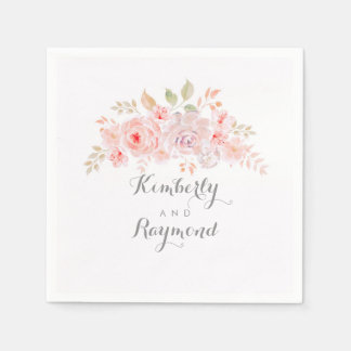 Zachte Roze Bloemen Elegant Papieren Servetten