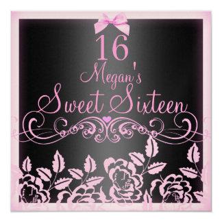 Zachte Roze & de Zwarte nam Verjaardag Sweet16 13,3x13,3 Vierkante Uitnodiging Kaart