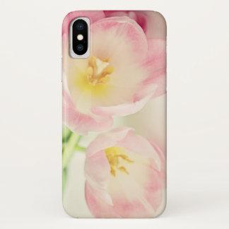Zachte Vintage Roze Tulpen iPhone X Hoesje