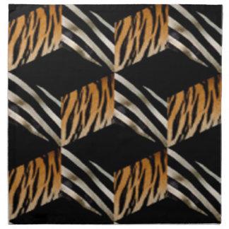 Zebra & de Servetten van de Druk van de Tijger