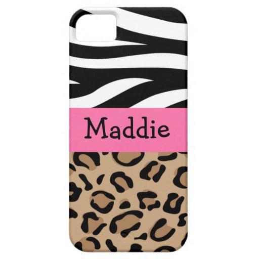 Zebra en de Druk van de Luipaard Gepersonaliseerd  Case-Mate iPhone 5 Hoesjes