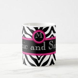 Zebra en het Elegante en Sassy Monogram van het Koffiemok