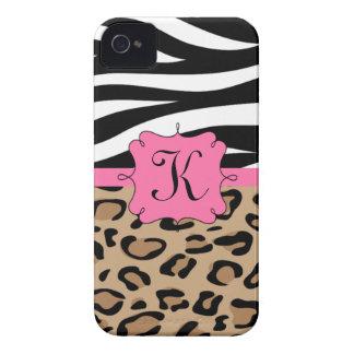 Zebra en het Gepersonaliseerde Monogram van de Lui iPhone 4 Hoesje