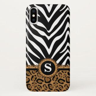Zebra en het Monogram van de Druk van de Luipaard iPhone X Hoesje
