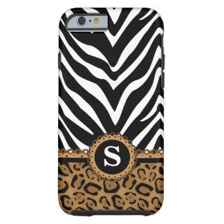 Zebra en het Monogram van de Luipaard Tough iPhone 6 Hoesje
