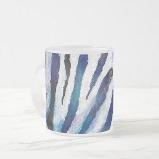 Zebra in Blauwgroen en Paars Matglas Koffiemok