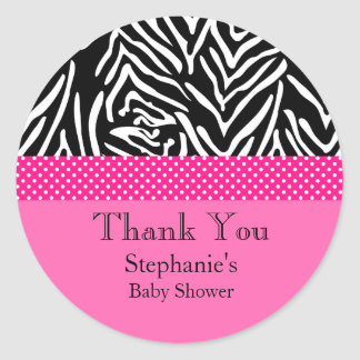 Zebra met het Hete Roze Baby shower van het Ronde Sticker
