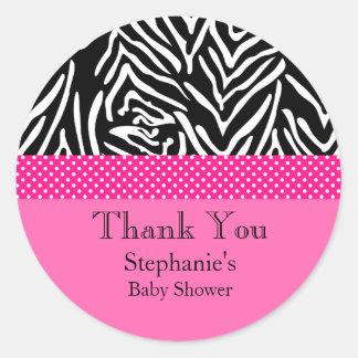 Zebra met het Hete Roze Baby shower van het Ronde Stickers