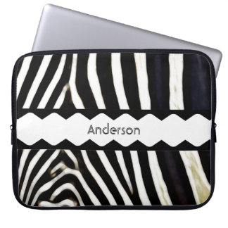 Zebra met monogram laptop sleeve