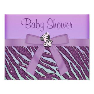 Zebra & Paars Baby shower Cupcakes 10,8x13,9 Uitnodiging Kaart