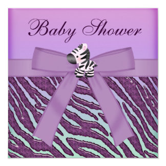 Zebra & Paars Baby shower Cupcakes 13,3x13,3 Vierkante Uitnodiging Kaart