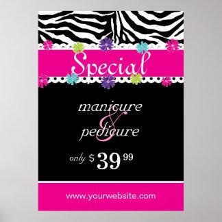 Zebra Salon Spa Trendy Roze Daisy Spring Sale Poster