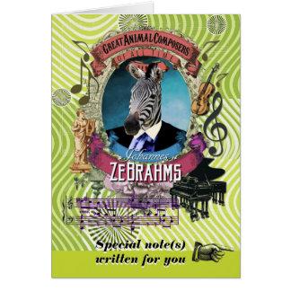 Zebra van de Componist van Zebrahms van de Parodie Briefkaarten 0