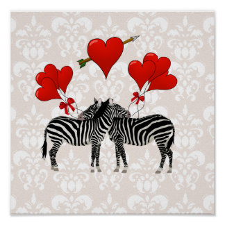 Zebras en harten op roze damast poster