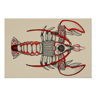 Zeekreeft - de Studie van het Pointillisme Poster