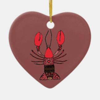 Zeekreeft Keramisch Hart Ornament