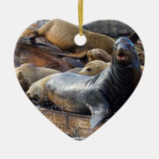 Zeeleeuwen op het Drijvende Dok in San Francisco Keramisch Hart Ornament