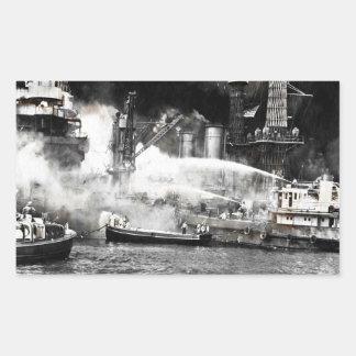 Zeelieden die Branden op Scheepsboord bestrijden Rechthoekige Sticker