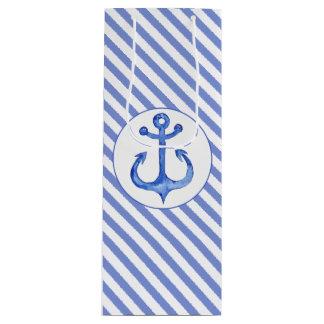 Zeevaart Anker - de Marineblauwe Gestreepte Zak Wijn Cadeautas
