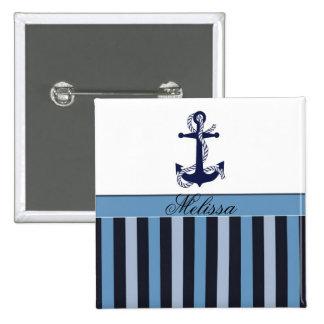 Zeevaart Anker en het Blauw van Strepen Vierkante Button 5,1 Cm