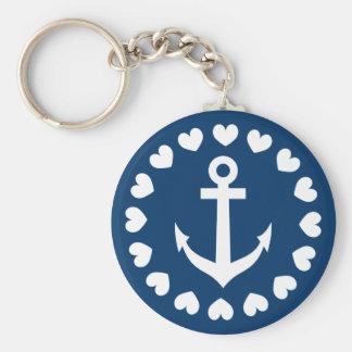 Zeevaart anker keychain Marineblauw en witte | Sleutelhanger