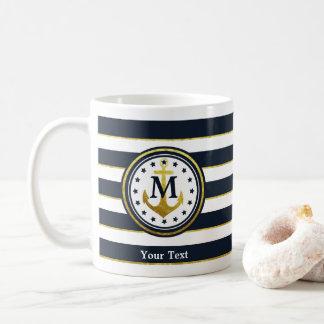 Zeevaart Anker, Marine, Wit en Goud, Monogram Koffiemok
