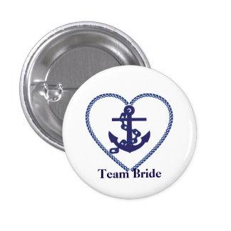 Zeevaart Anker met de Bruid van het Team van het Ronde Button 3,2 Cm