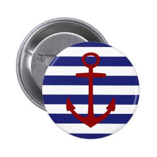 Zeevaart Blauw en Wit Rood Anker Stripeswith Ronde Button 5,7 Cm
