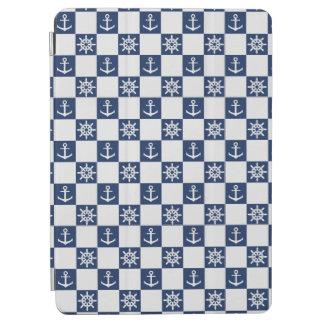 Zeevaart blauwe witte geruit iPad air cover