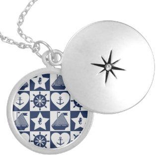 Zeevaart blauwe witte geruit zilver vergulden ketting
